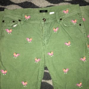 J Crew Green Chicken Pants, size 2